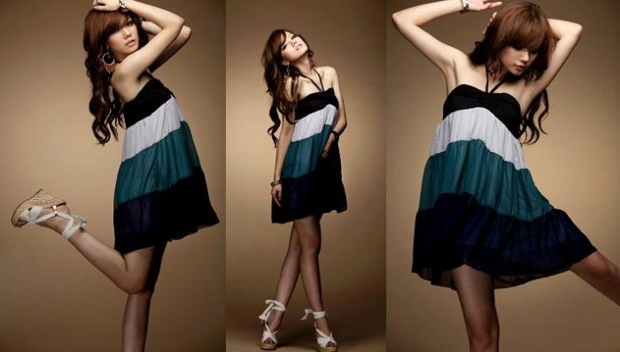 Lovely Cake Layers Colors Chiffon Straps Dress -Blue