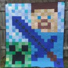 NEW HANDMADE QUILT STEVE SWORD MINECRAFT BLANKET QUEEN PIXEL 78 X 86
