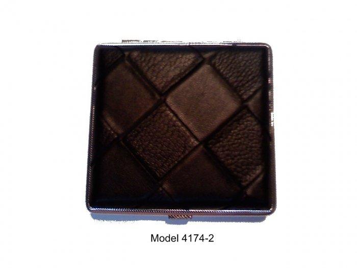 Black Leather Elegant Case Holds 20 Kings Model 4174-2