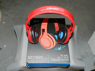 Red Street By 50 On Ear Wired Headphones SMS Audio SM-818 No Mic