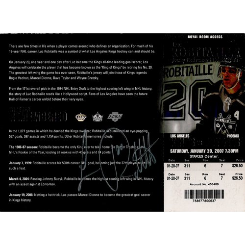 LOAS ANGELES KINGS LUC ROBITAILLE SIGNED 8x10 PHOTO + COA