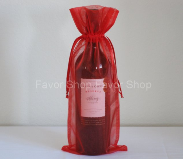 Best Red Wine For Wedding Gift : Red Organza BagsBottle/Wine Bags Gift Pouch Wedding Favors, 6