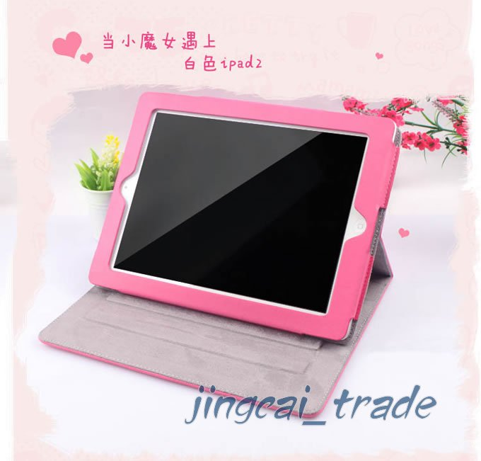 Leather Case Cover Pouch For Apple iPad 2 Cute Pink New