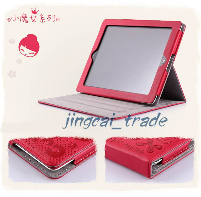 Leather Case Cover Pouch For Apple iPad 2 Cute Red New