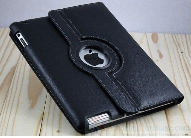 Smart Leather Cover Case for Apple iPad 2 Stand 360° Rotating Black colour New