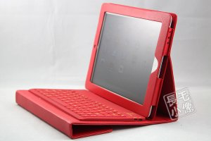 iPad2 Red Leather Case Cover with Wireless Bluetooth Keyboard for Apple iPad 2