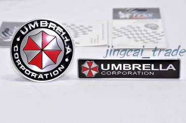 2 pcs Umbrella Corporation Aluminium Decal Badge Emblem Universal for Car Auto