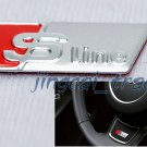 Audi S Line Sline Car Steering Wheel Emblem Badge Sticker Decal Metal Sliver&Red
