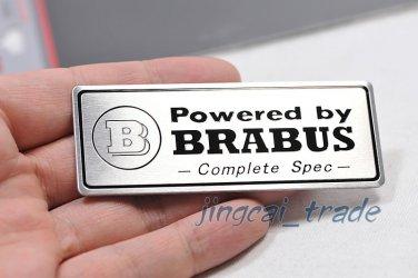 """Powered by BRABUS "" Aluminium Decal Badge Emblem Universal for Auto Car Van SUV"