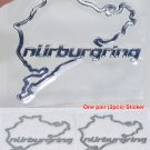 Pair (2pc) Polished Chrome Nurburgring Motor Sport Car Auto Emblem Sticker Decal