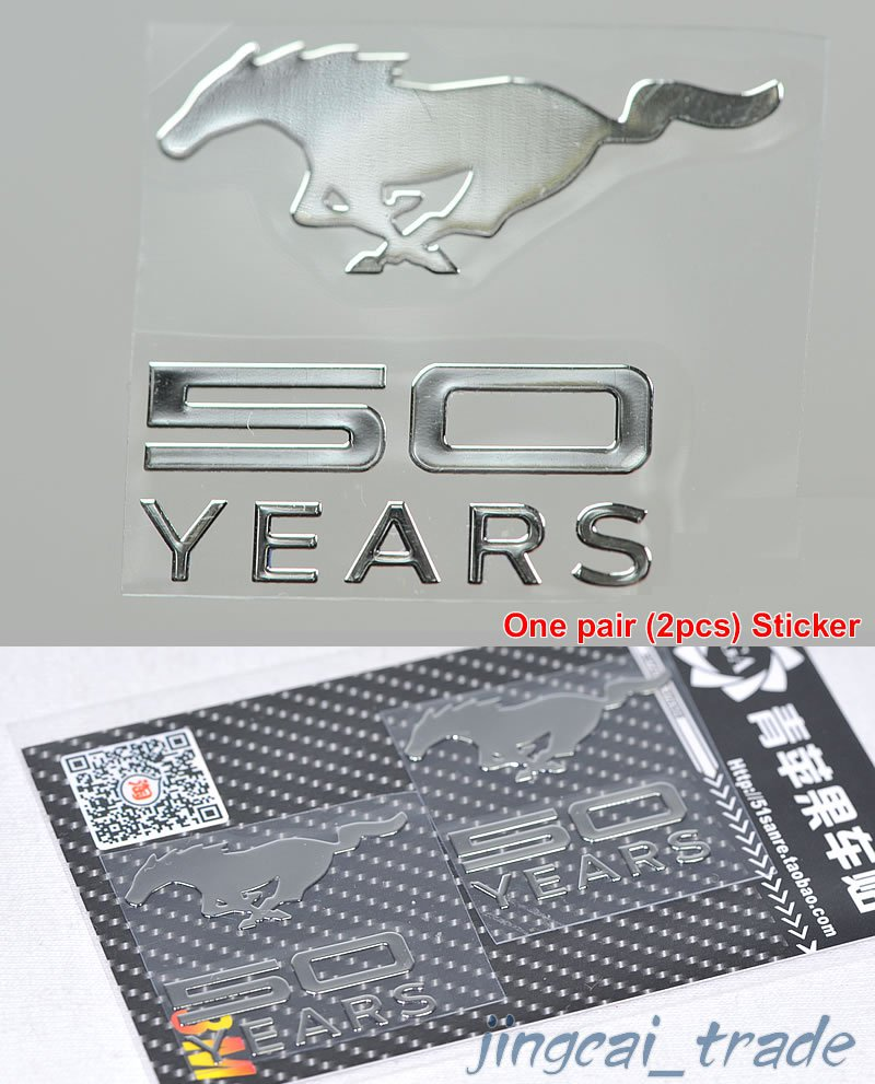 Pair (2 pcs) Polished Chrome Mustang 50 Years OEM Logo Car Emblem Sticker Decal