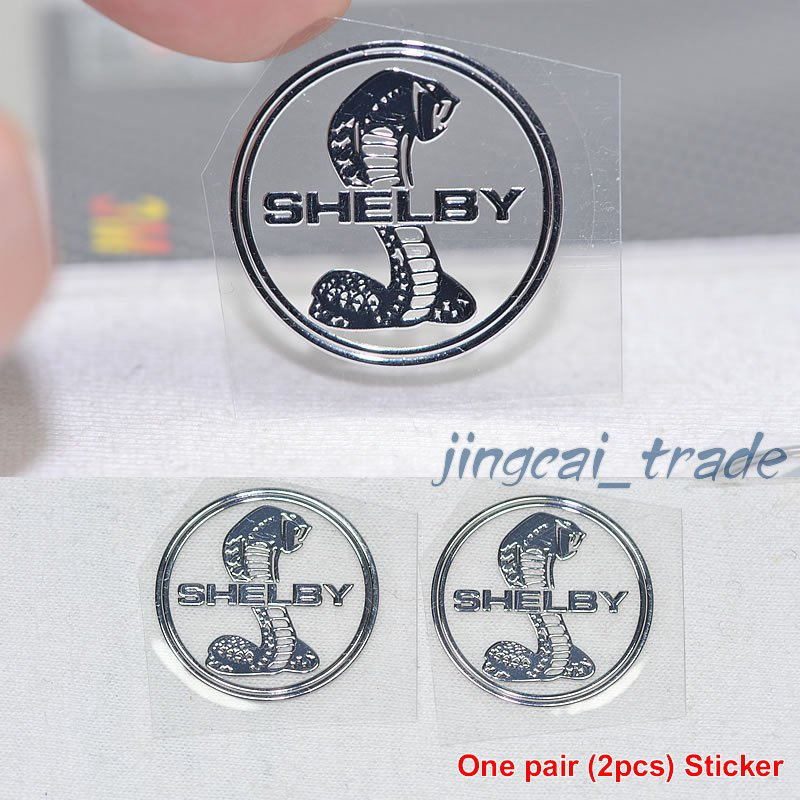 Pair (2 pcs) Polished Chrome COBRA SNAKE SHELBY Logo Car Emblem Sticker Decal