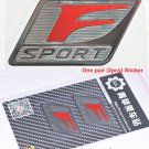 Pair (2 pcs) Polished Chrome Red F Sport Logo Car Emblem Sticker Decal for Lexus