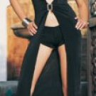 Slinky Long Dress with Rhinestone Front Buckle and Boyshorts -