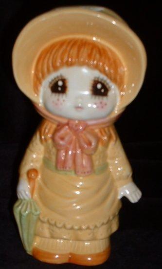 Vintage Lefton Country Girl Figurine Bank Ceramic