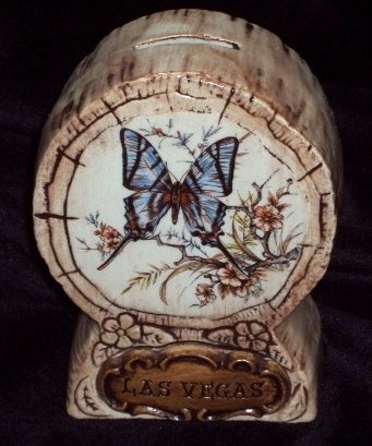 Vintage Treasure Craft Bank Souvenir LasVegas Butterfly Design