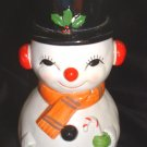 Vintage Snowman Plastic Bank Hand Painted Japan Holly On Hat