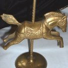 Vintage Brass Carousel Horse Figurine with Paper Label Made in India Aged Patina