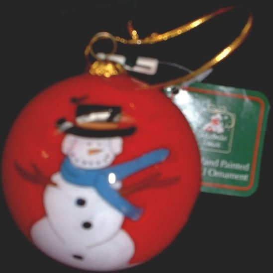 Christmas House Holiday Glass Snowman Tree Red Ball Ornament Velvet Box