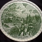 Currier and Ives Christmas Snow Round Tray Pie Crust Fluted Pattern Serving Platter