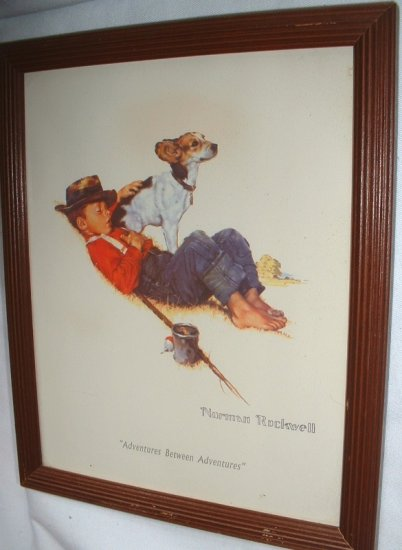 Norman Rockwell Classics Adventures between Adventures Print Wood Frame 8 x 10 1997 Made in Mexico