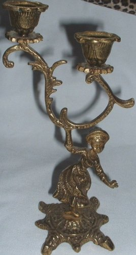 Vintage Etched Cast Brass Metal Figural Lady Double Candlestick Holder