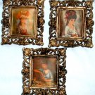 Three Mini Vintage Ornate Style Picture Frames w/ Puffy Silk Pictures Hong Kong