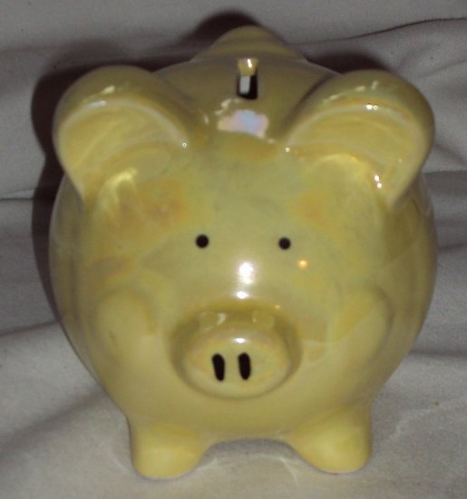 Iridescent Ceramic Yellow Pig Piggy bank Made In China New Used Condition Stopper Intact