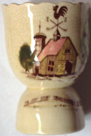 Vintage Rooster Weathervane Vintage Farm Scene Double Egg Cup Numbered 53/683