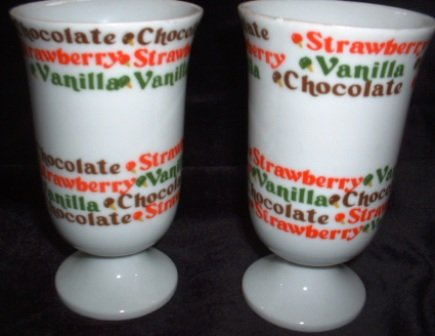 Ice Cream Parlor Lot2 Vintage Soda Fountain Glasses Footed Mugs Ceramic Price Imports Japan