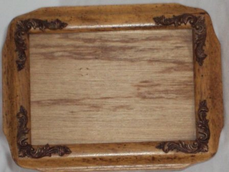 Wooden Ornate Picture Frame Raised Wood Carved Fleur De Les 5 x 7 Glass Insert