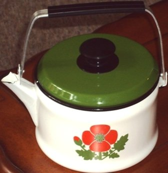 Enamelware Teapot Orange Poppy Flower Tea Pot Vintage Aluminum / Plastic Handle