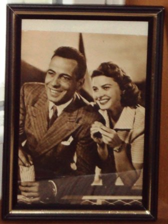 Fotocard Framed Photo Actors Humphrey Bogart Ingrid Bergman Movie Stars Vintage 1950's