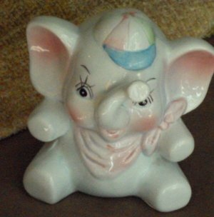 Baby Boy Still Elephant Coin Slot Piggy Bank w/  Baseball Cap