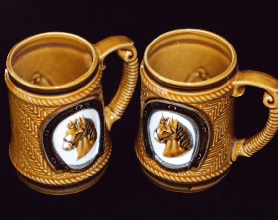 Vintage Made in Japan Brown Glazed Horse Mug/Stein Coffee Cup Set