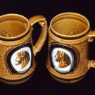 Vintage Made in Japan Brown Glazed Horse Mug/Stein Coffee Cup Set
