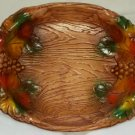 Vintage Wood-Like Molded Handled Oval Tray Plastic Fall Festival Platter