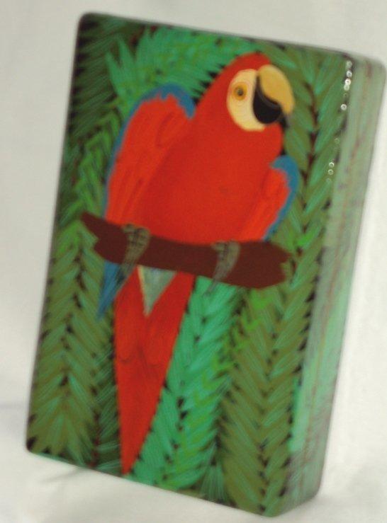 Tropical Parrot Bird Keepsake Wooden Trinket Jewelry Box