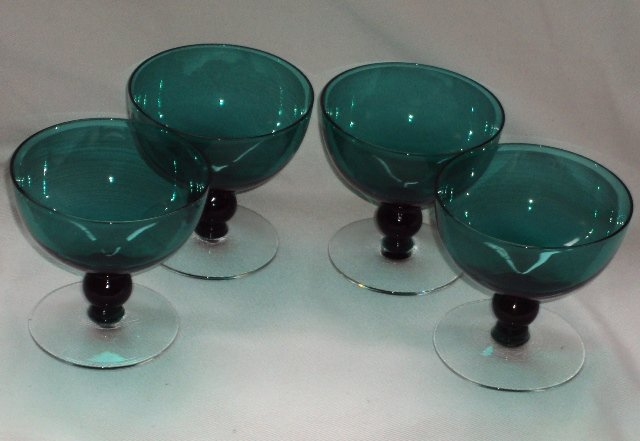 Crystal Dessert / Champagne Bar Glasses /4 Vintage Green W/ Footed Clear Glass Stems