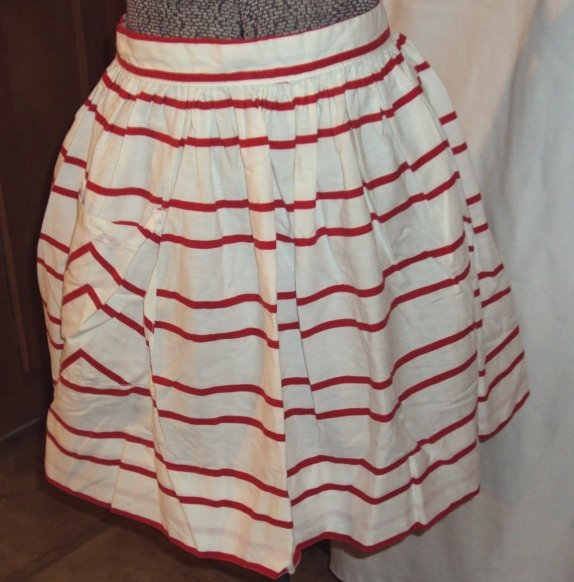 Vintage Red & White Candy Stripes Full Swing Skirt Hostess Half Apron