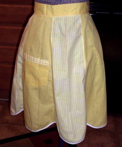 Hostess Half Apron / Retro Vintage / Yellow White Stripes / Scalloped Hemline