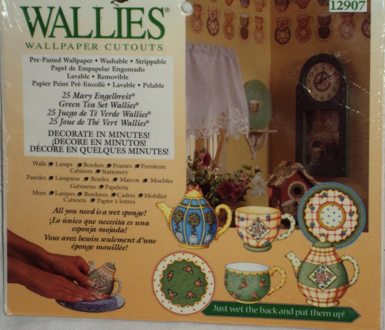 Wallies Wallpaper Cutouts Mary Engelbreit Green Tea Set Cups Pots Saucers Sealed Decals