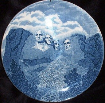 Johnson Bros Mt Rushmore Presidents Collector's Chargers Plate Vintage England Blue Transfer Ware