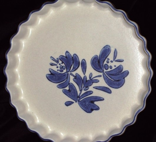 Pfaltzgraff Blue Yorktowne Fluted Quiche Baking Pan Oven Serving Dish
