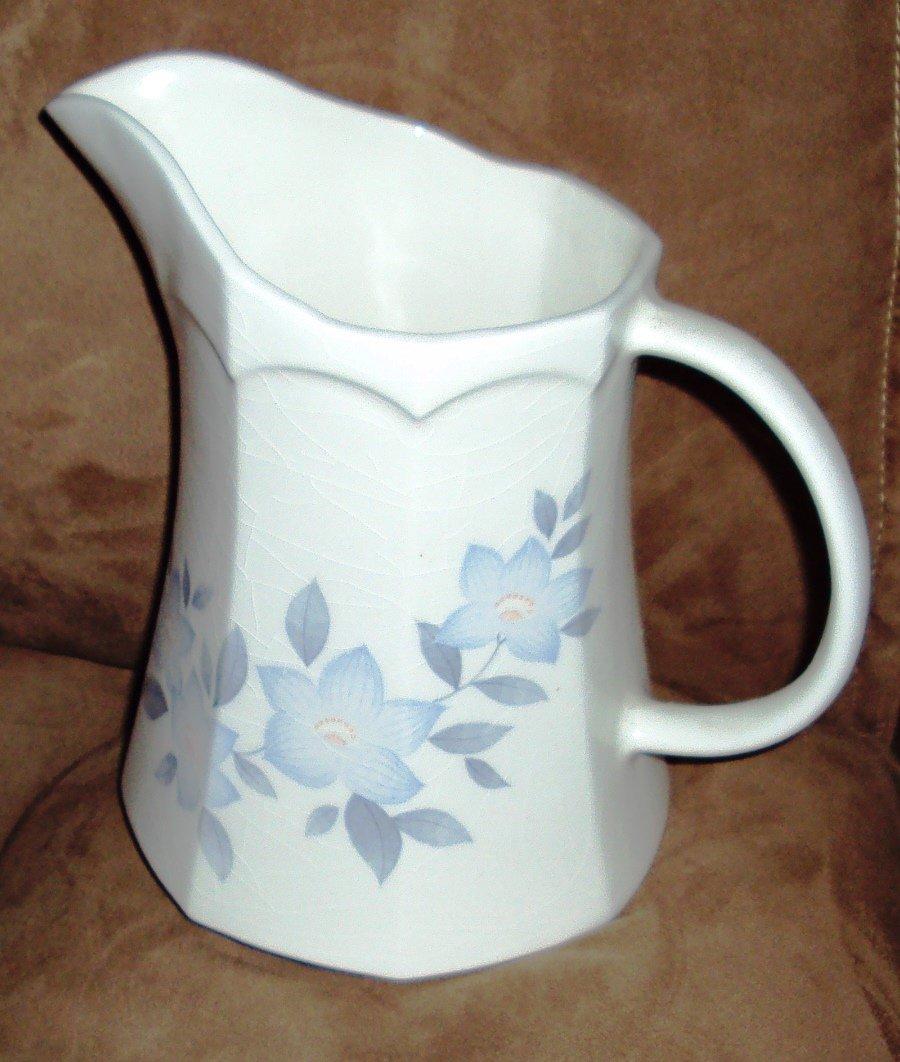 Vintage White Pottery Milk Pitcher Blue Floral Creamer Octagon Ewer
