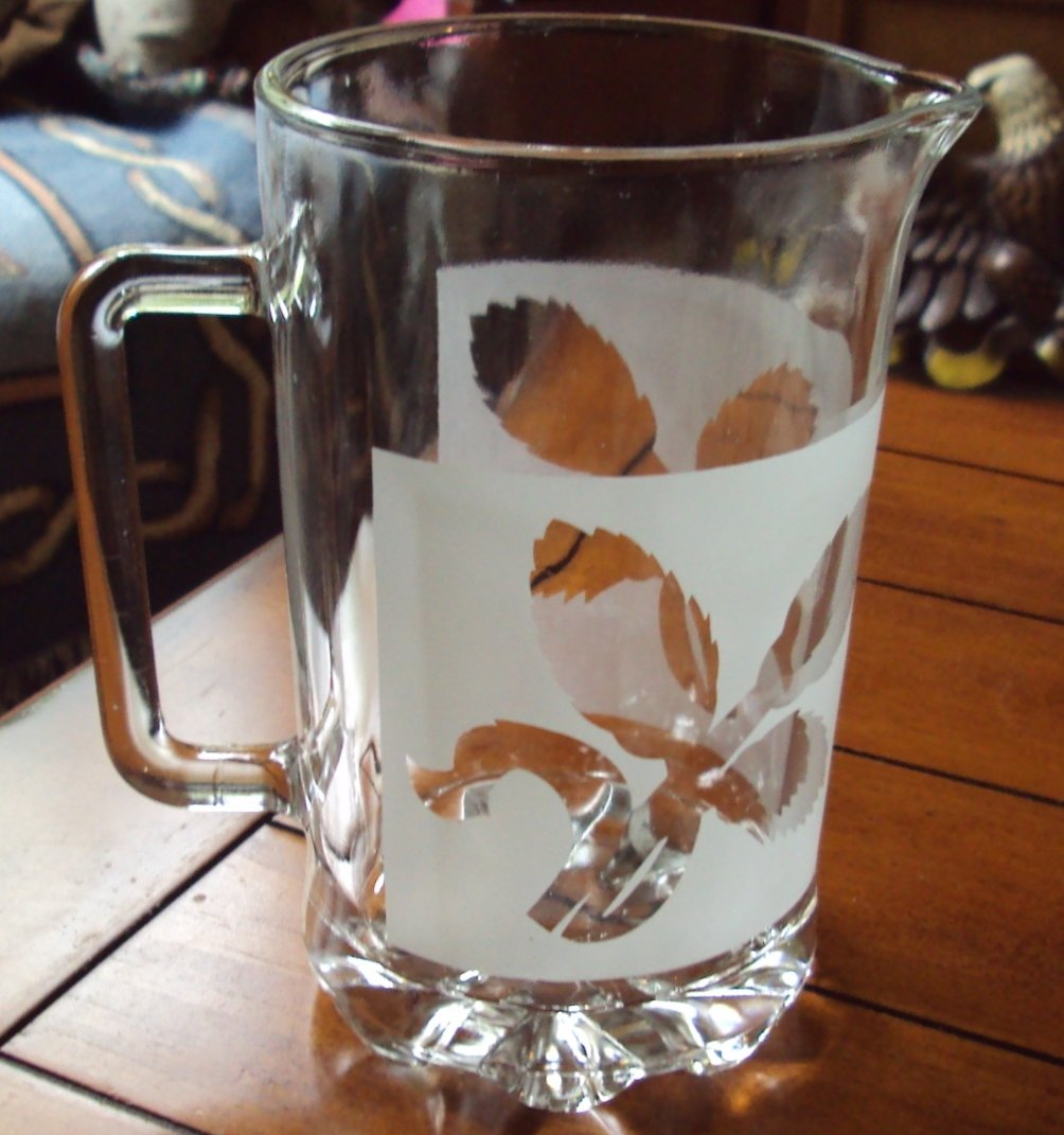Vintage Glass Etched Water Pitcher Frosted Leaf Crystal Design Foliage Juice Milk Barware