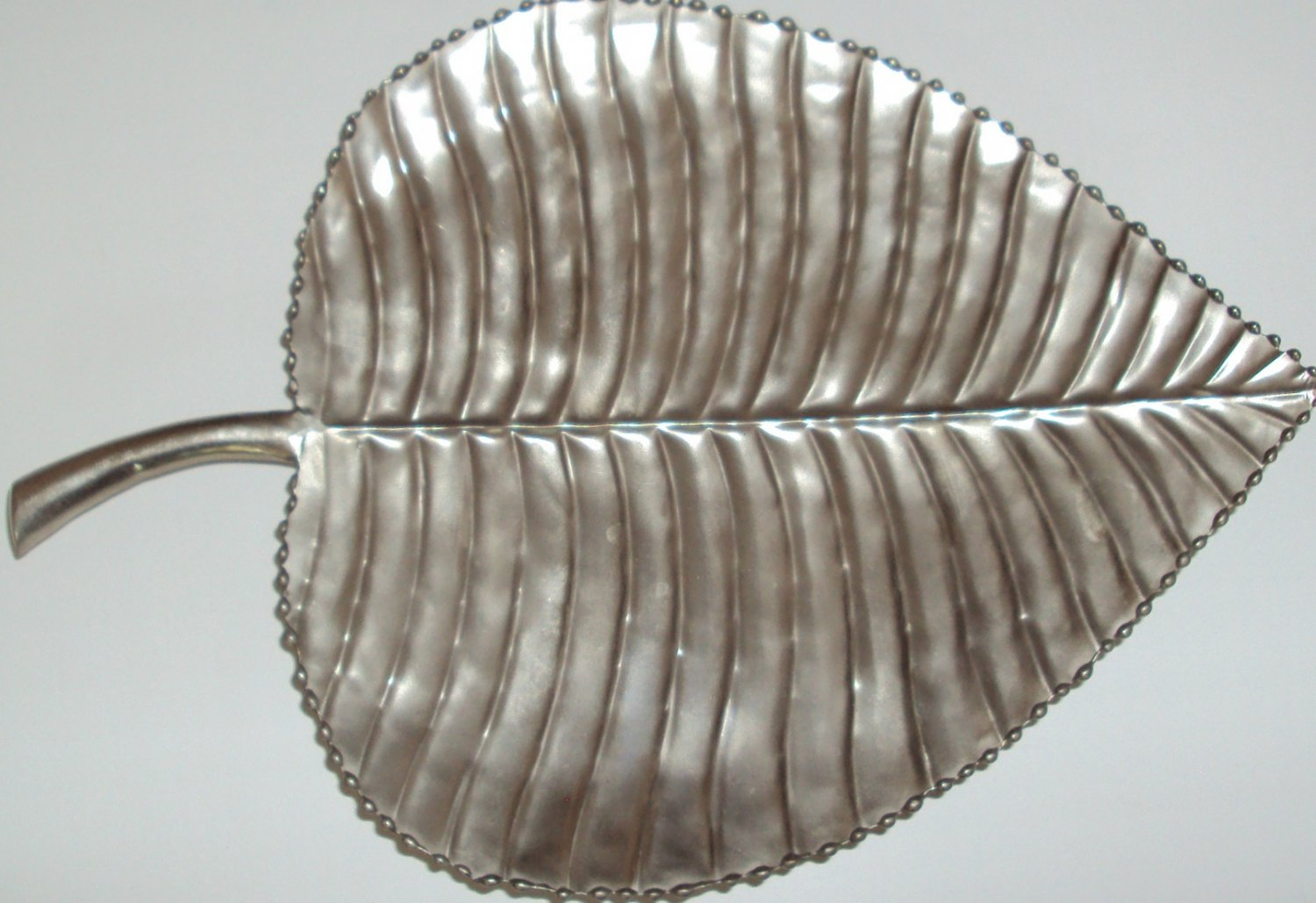 Vintage Large Forest Leaf Shape Tray Metal Platter Beaded edge