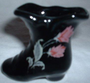 Victorian-type Black Porcelain Ladies Boot Hand Painted Flowers Vintage Mini Vase Toothpick Holder