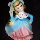 Pottery Ceramic Dressed Girl Figurine in Blue Coat / Pink Dress Vintage Planter Ruffled Petticoat