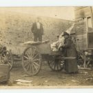 Men Loading Horse-Drawn Butcher Wagon? Vintage  Photo Postcard